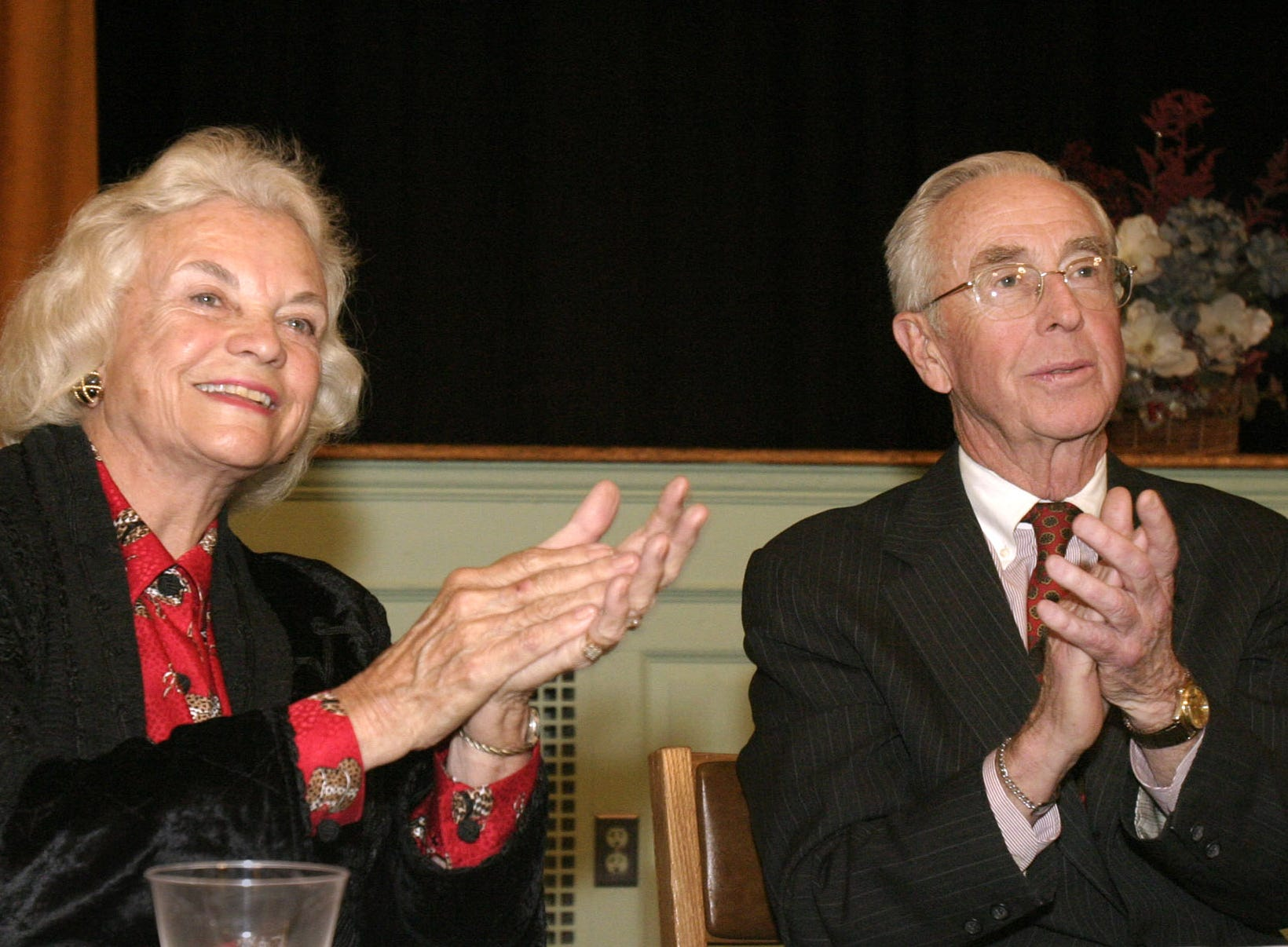 Supreme Court Justice Sandra Day O'Connor, left, and husband, John, attend an awards ceremony at Touro Law Center in Huntington, NY, March 9, 2004.