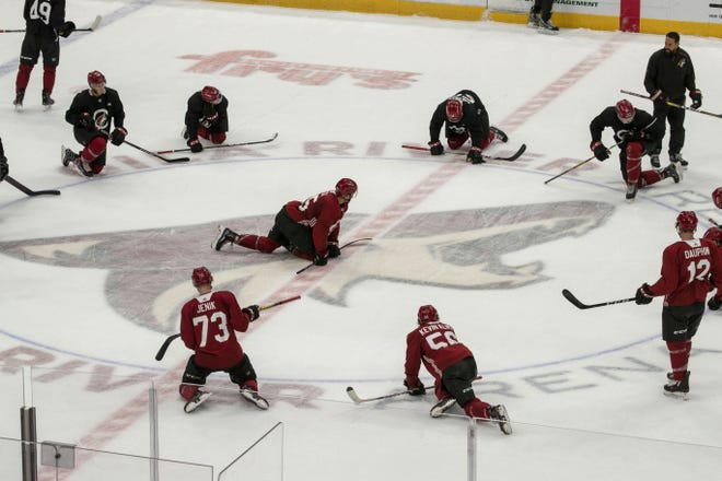 Arizona Coyotes players during the practice at Gila River Arena.