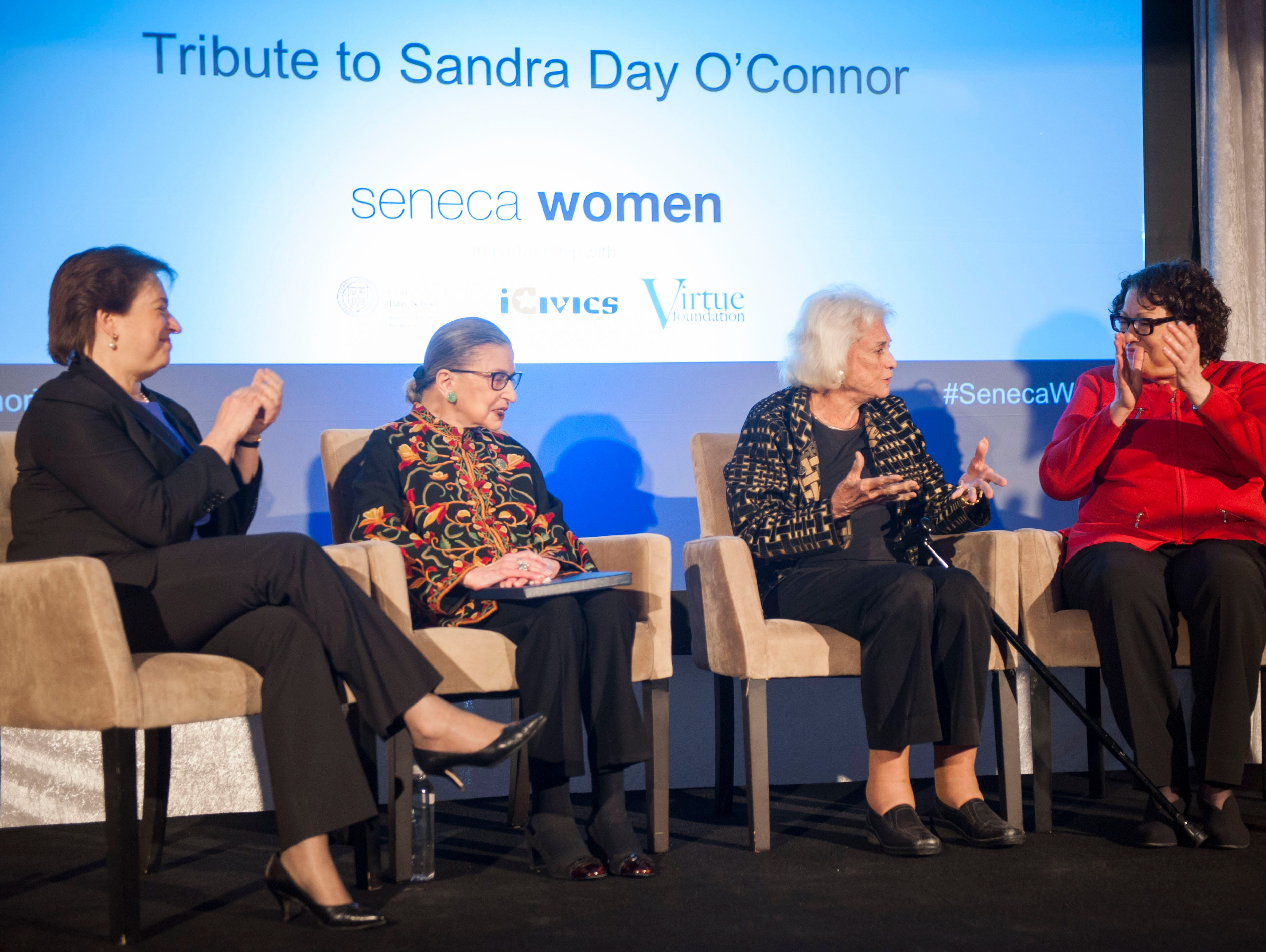 From left, Supreme Court Justices Elena Kagan, Ruth Bader Ginsburg, Sandra Day O'Connor and Sonia Sotomayor, sit on stage at the Seneca Women Global Leadership Forum on April 15, 2015 at the National Museum of Women in the Arts in Washington. O'Connor was honored for her advocacy work for civic education, impact on female judges and justice for women and girls worldwide.