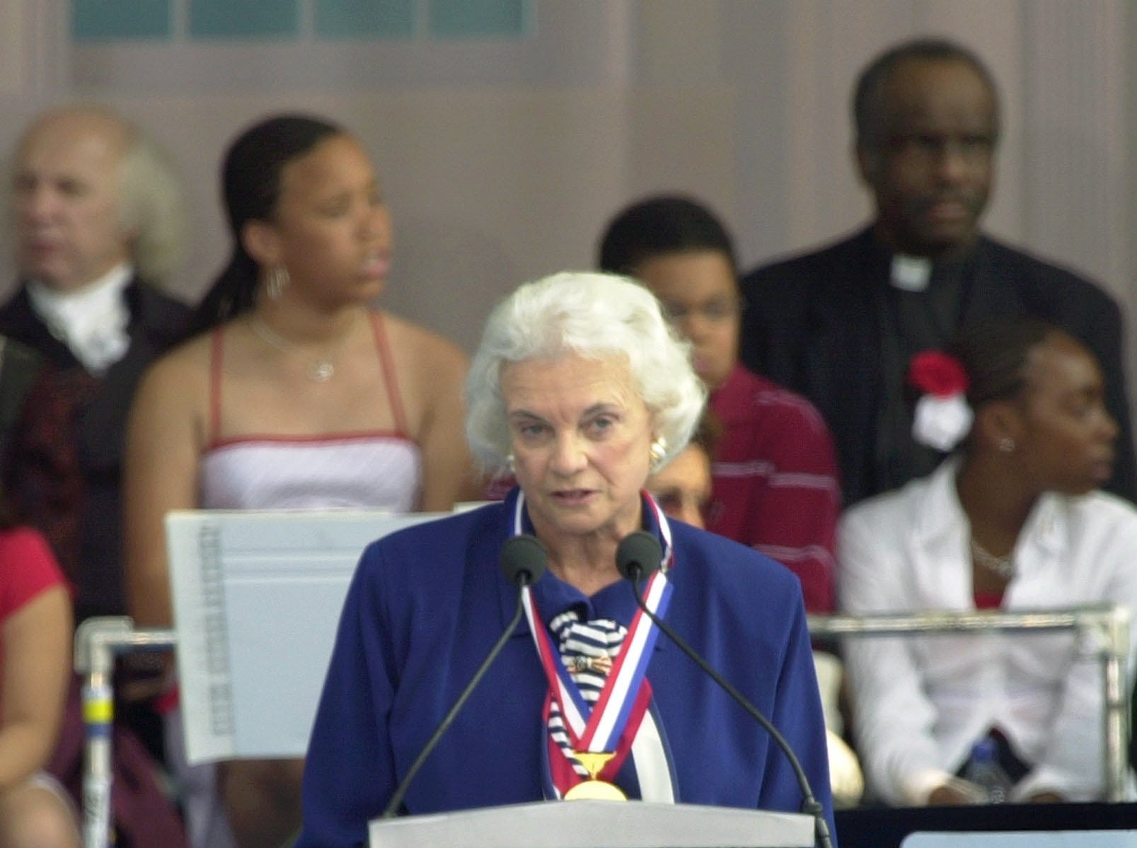Supreme Court Justice Sandra Day O'Connor speaks after receiving the Liberty Medal in Philadelphia, Friday, July 4, 2003.  The award honors individuals whose actions represent the founding principles of the United States.
