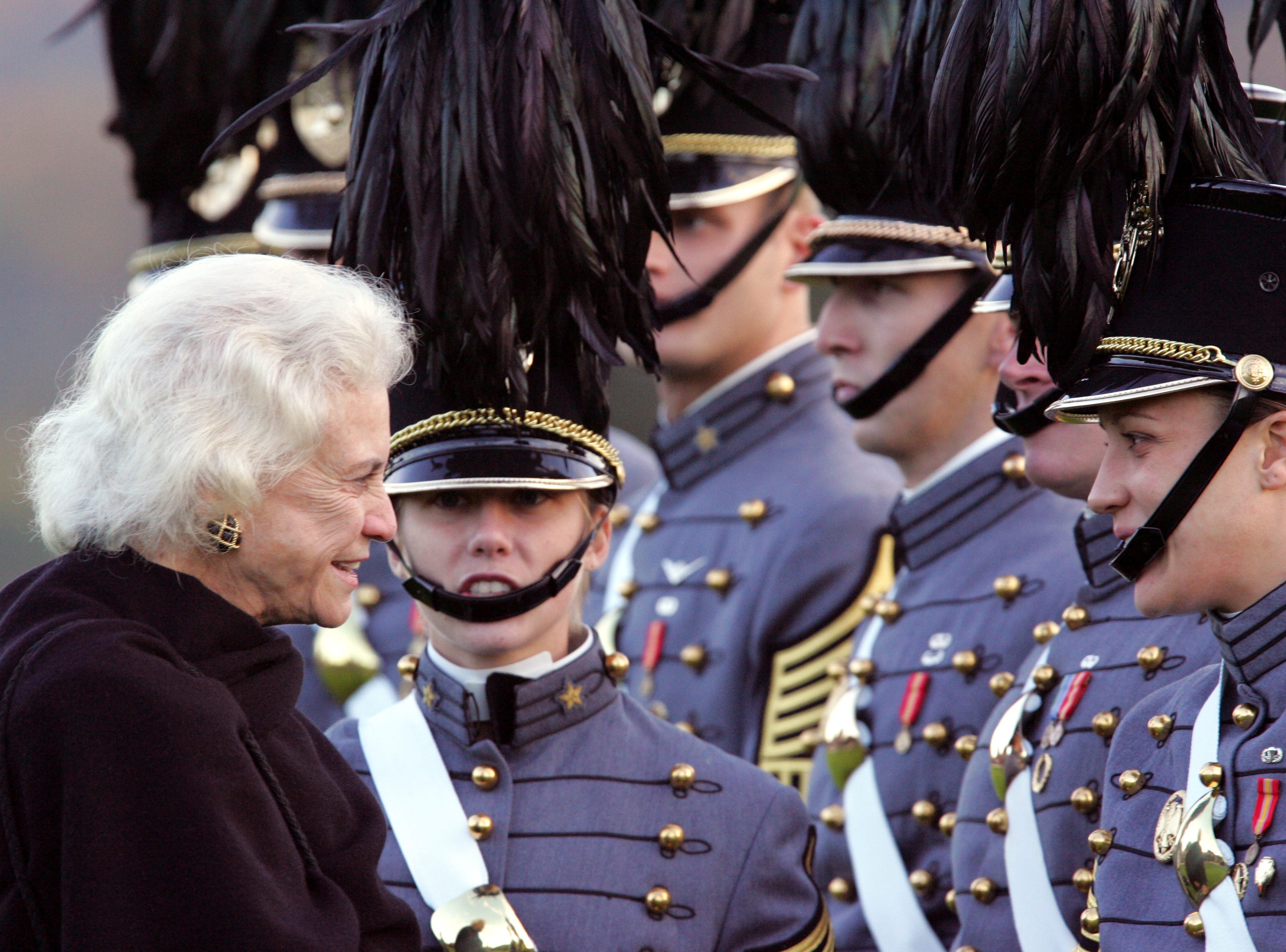 U.S. Supreme Court Justice Sandra Day O'Connor is introduced to members of the cadet corps by Cadet First Capt. Stephanie Hightower, second from left, of Rio Rancho, N.M., after O'Connor reviewed the corps and before receiving the Sylvanus Thayer Award on Thursday, Oct. 20, 2005, at the U.S. Military Academy at West Point, N.Y.