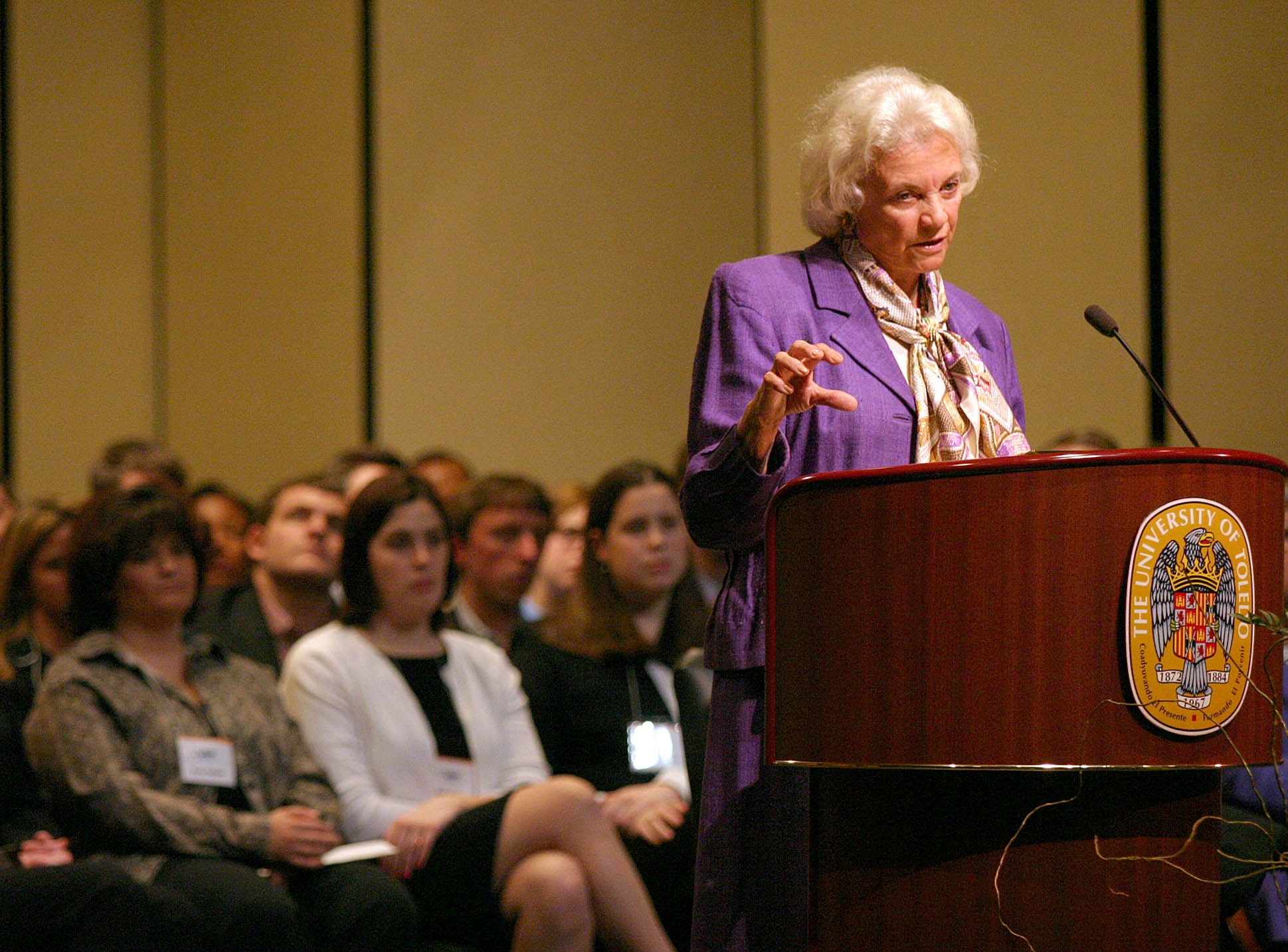 United States Supreme Court Justice Sandra Day O'Connor gestures as she speaks to the public in the Doermann Theatre at the University of Toledo, Wednesday, April 7, 2004, in Toledo, Ohio. Justice O'Connor's appearance was part of the UT College  of Law's Distinguished Lecture Series.