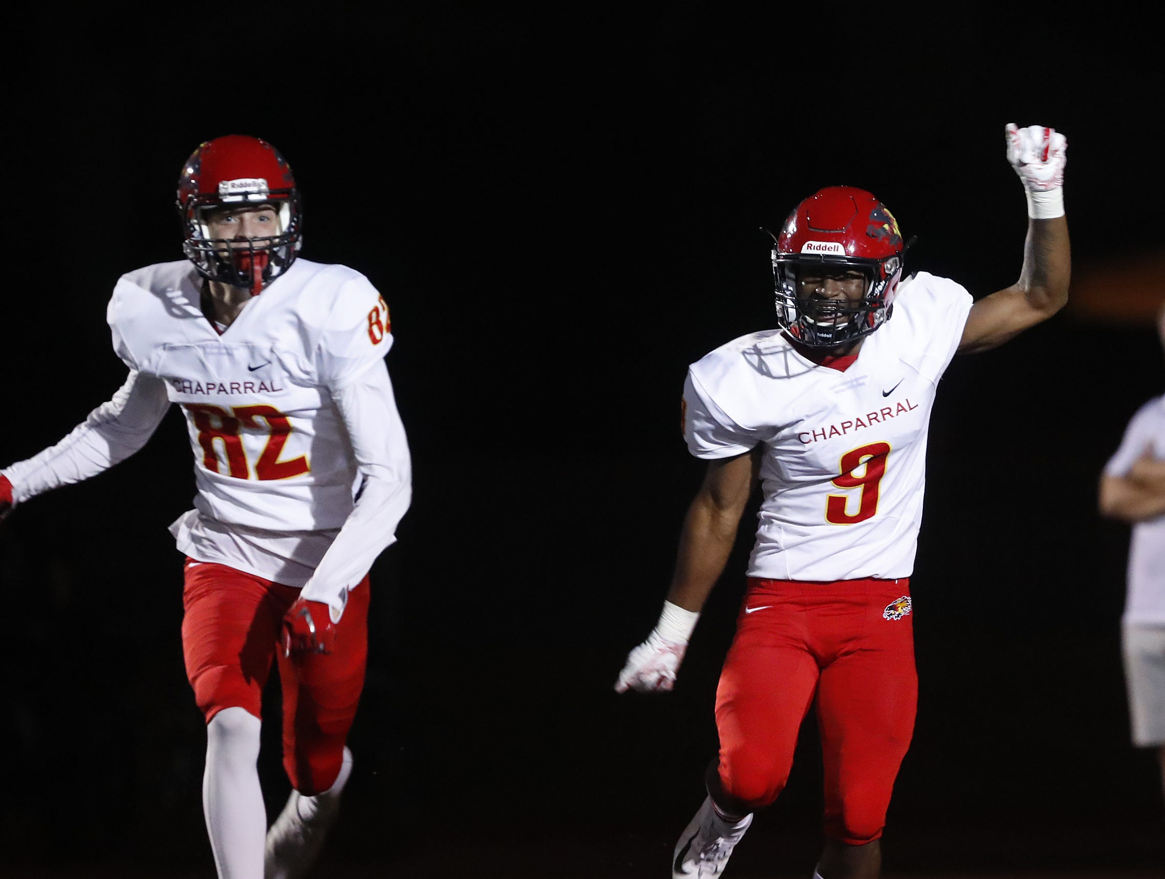 Chaparral's Deavon Crawford (9) celebrates a touchdown against Saguaro during the first half at Saguaro High School in Scottsdale, Ariz. on Sept. 14, 2018.