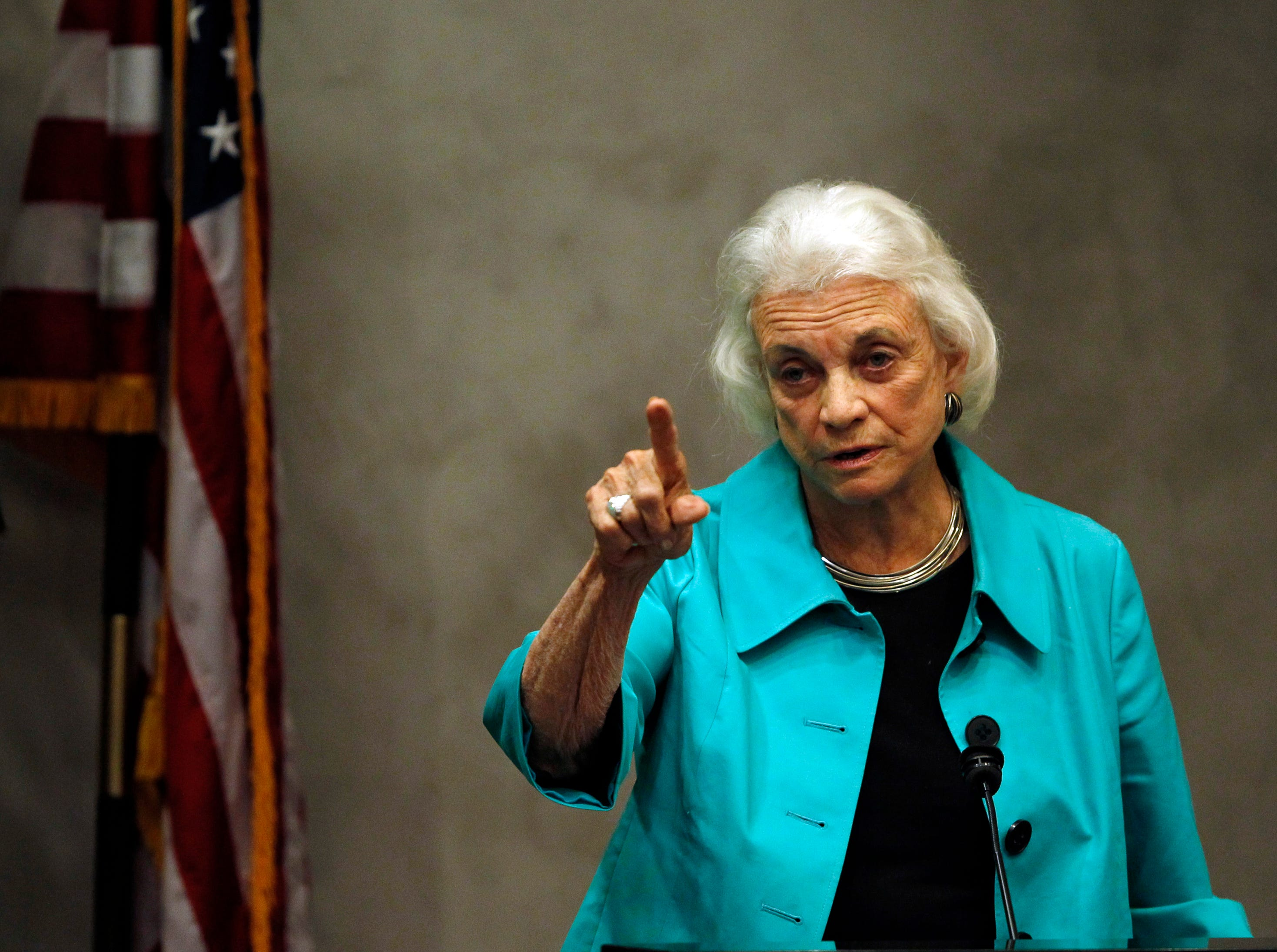 "Former Supreme Court Justice Sandra Day O'Connor addresses a gathering at the Valley Leadership presentation of a Community Dialogue Series ""An Evening With Justice Sandra Day O'Connor"" Thursday, April 15, 2010, in Phoenix."