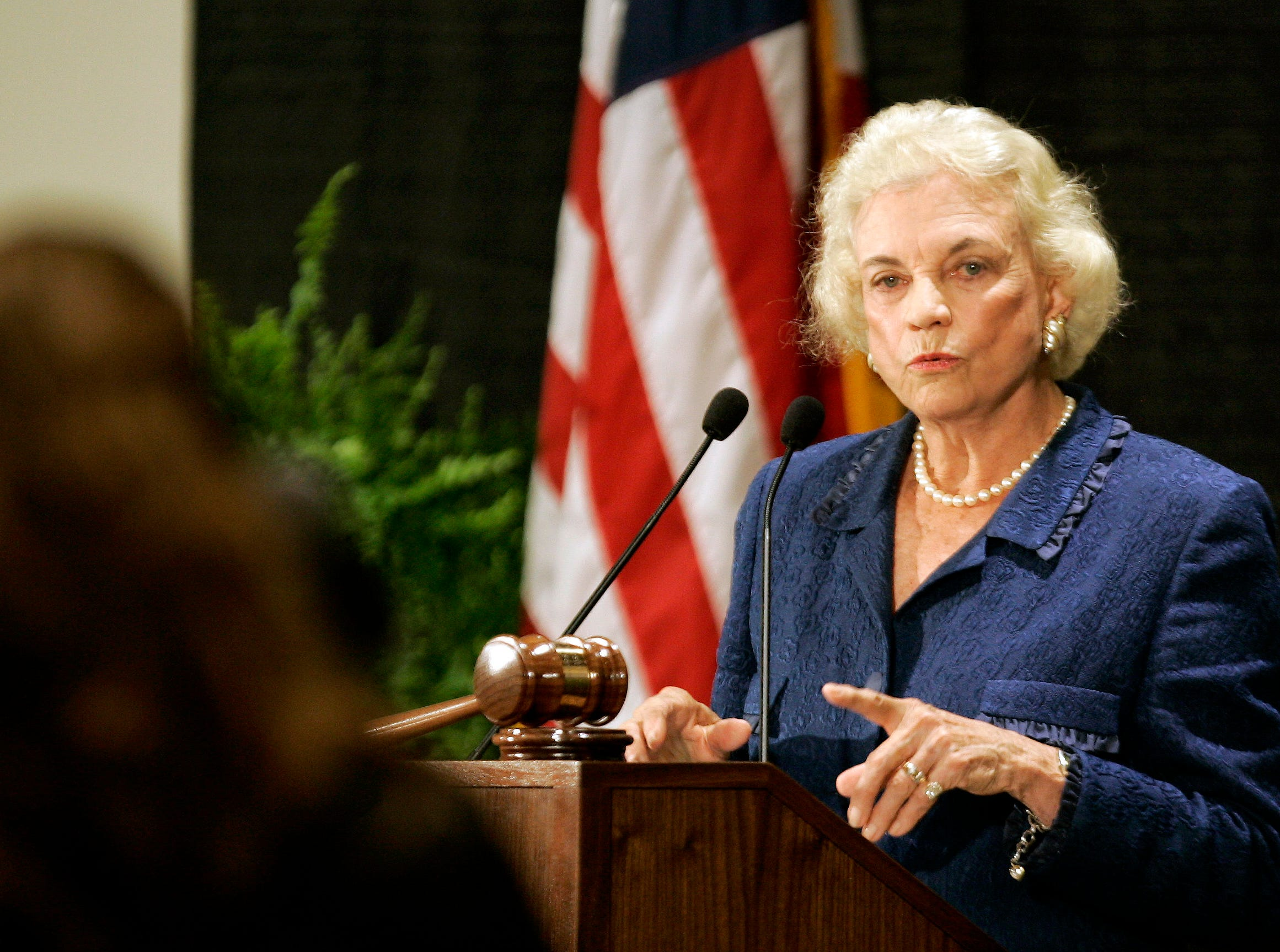 Retired U.S. Supreme Court Justice Sandra Day O'Connor answers questions from a student at Elon University School of Law in Greensboro, N.C., Tuesday, Sept. 19, 2006. O'Connor helped dedicate the new law school and took questions from students.