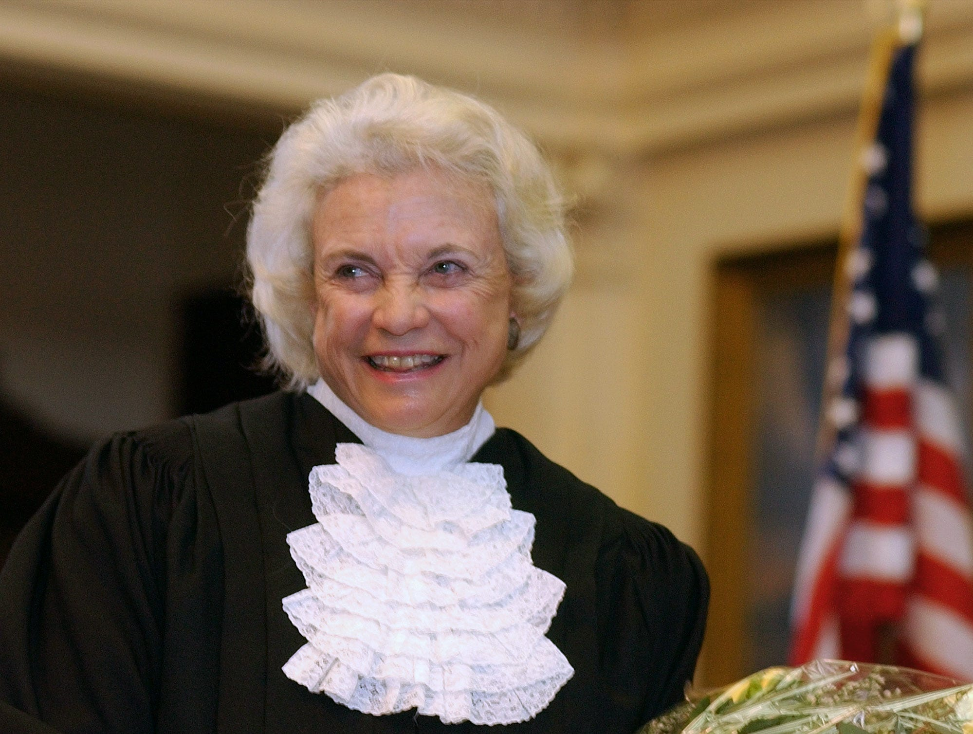 U.S. Supreme Court Justice Sandra Day O'Connor is shown before administering the oath of office to members of the Texas Supreme Court, Monday, Jan. 6, 2003, in Austin, Texas.