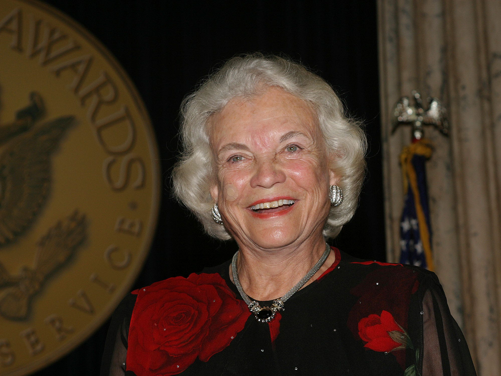 Supreme Court Justice Sandra Day O'Connor smiles as the crowd applauds after she received the Senator John Heinz Award for Greatest Public Service by an Elected or Appointed Official during a ceremony at the American Institute for Public Service Jefferson Awards on June 22, 2004, in Washington.