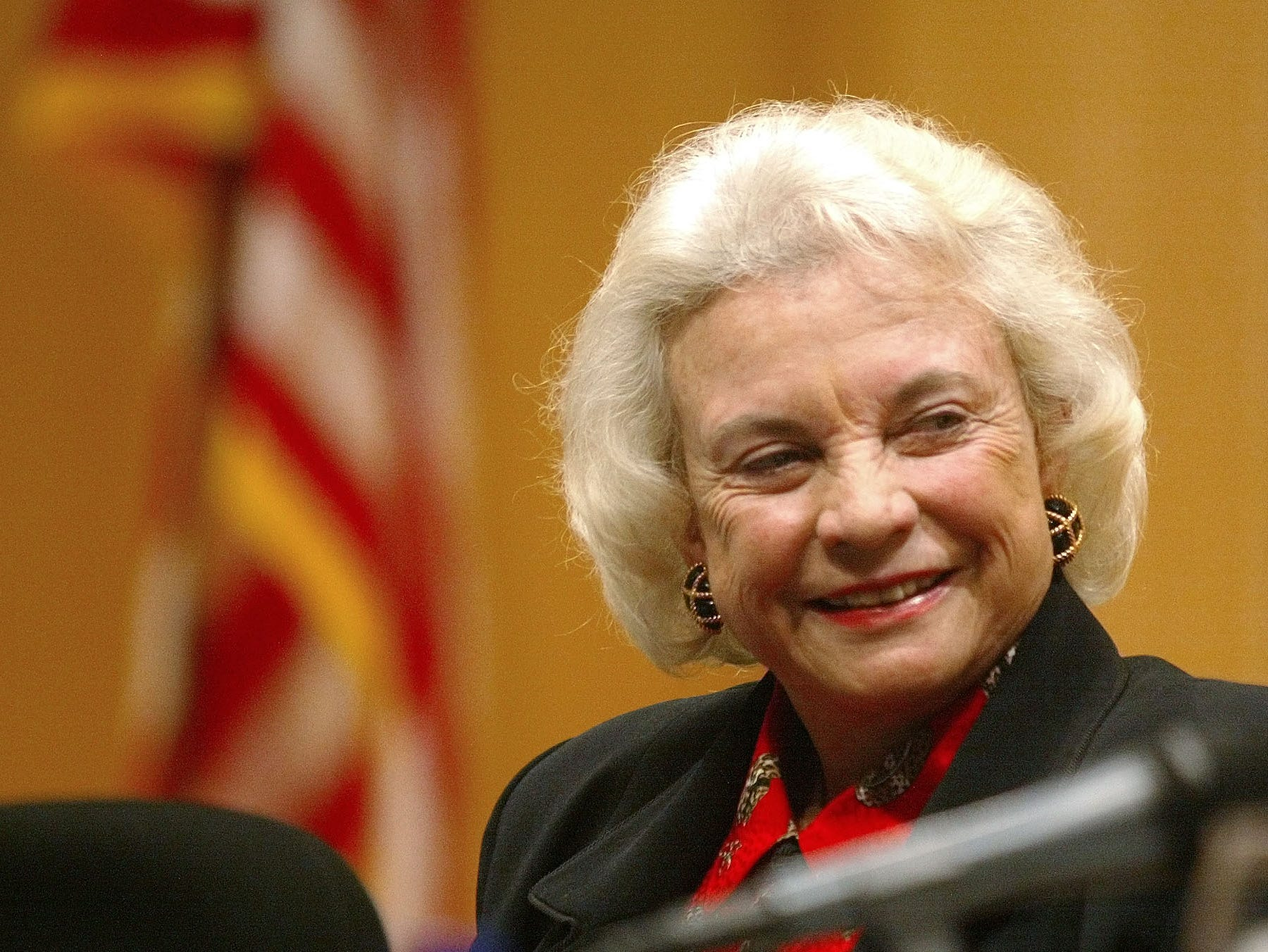 Justice Sandra Day O'Connor listens to Ohio State University law professors speak during a roundtable discussion at the university law school Friday, March 14, 2003, in Columbus, Ohio.