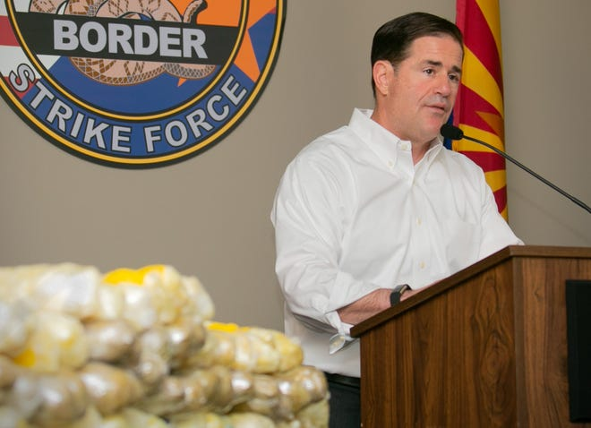 Arizona Gov. Doug Ducey speaks on Sept. 17, 2018, in Tucson about the Border Strike Force's seizure of 225 pounds of methamphetamine by troopers during three traffic stops on southern Arizona freeways.