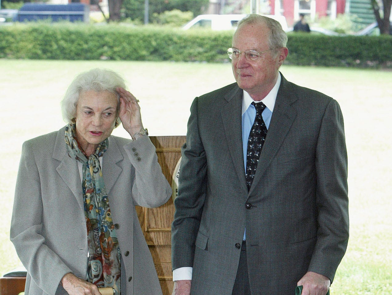 Supreme Court Associate Justice Sandra Day O'Connor, left, and Associate Justice Anthony M. Kennedy get ready to break ground, Tuesday, June 17, 2003, at a ceremony for a new section of the Supreme Court in Washington. It is phase one of a five-year restoration.