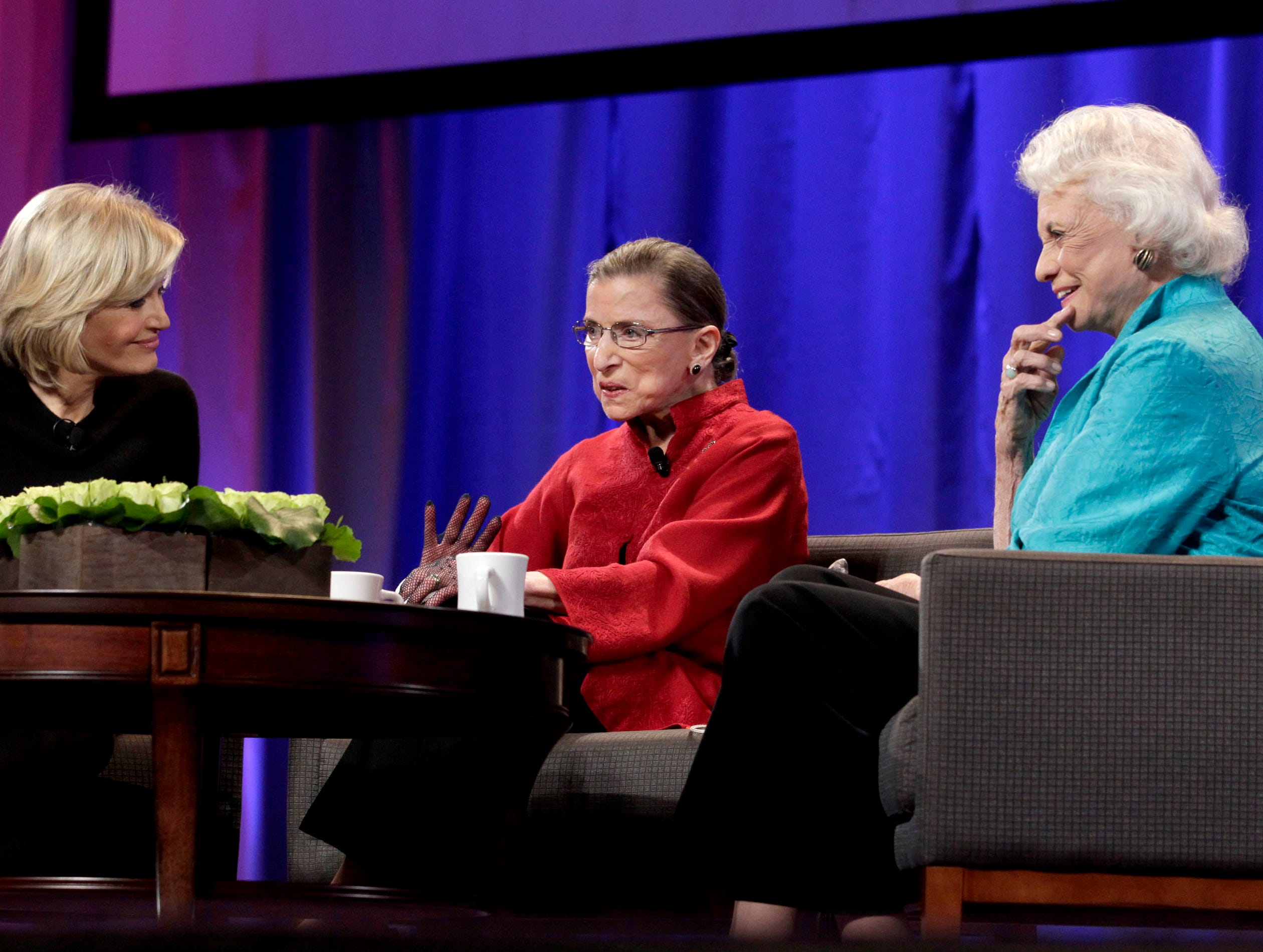 From left, Diane Sawyer, the honorable Ruth Bader Ginsburg and the honorable Sandra Day O'Connor, are seen on stage at the Women's Conference on Oct. 26, 2010, in Long Beach, California.
