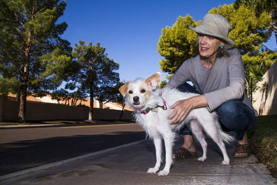 Michelle Gailiun and her dog, Junie B, pause during their walk along Edgewater Drive in Peoria, where damage from tree roots has caused a controversy.