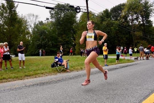 Allison Davis runs en route to taking the women's half-marathon title at the 40th Dutchess County Classic on Sunday in LaGrangeville.