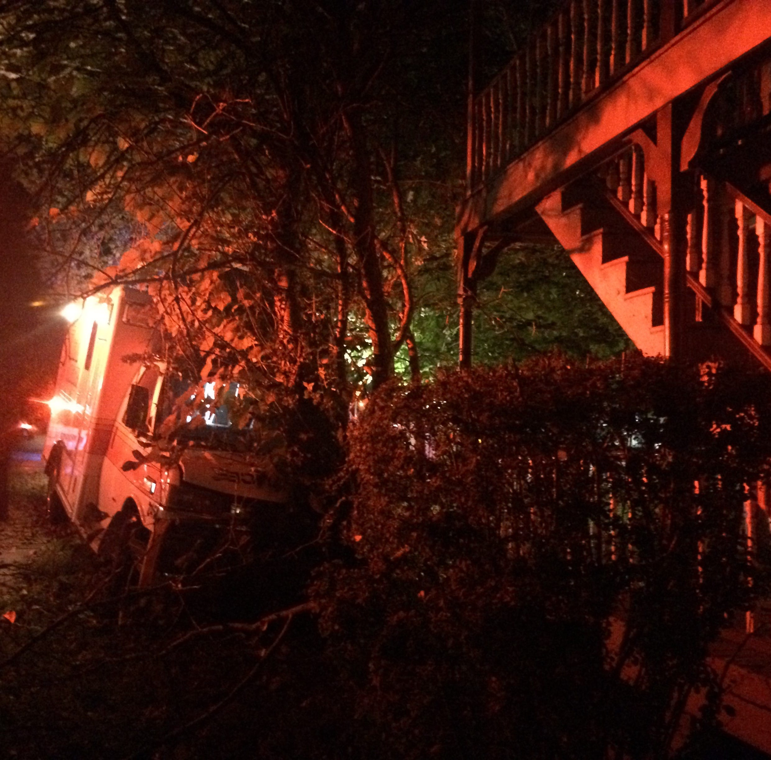 An ambulance crashed into a tree in the City of Poughkeepsie near Route 44 and Little Jefferson Street early Monday morning.