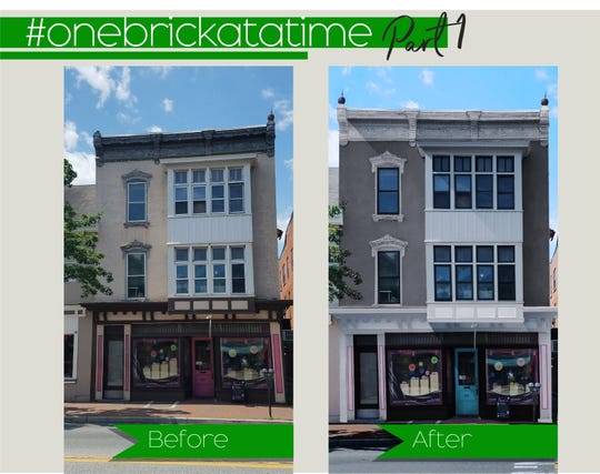 A rendering compares the front of the Zoe's Chocolate Co. building, 34 E. Main St., to Mainstreet Waynesboro's plans to upgrade the storefront. The effort is part of the organization's One Brick at a Time campaign to revitalize downtown.