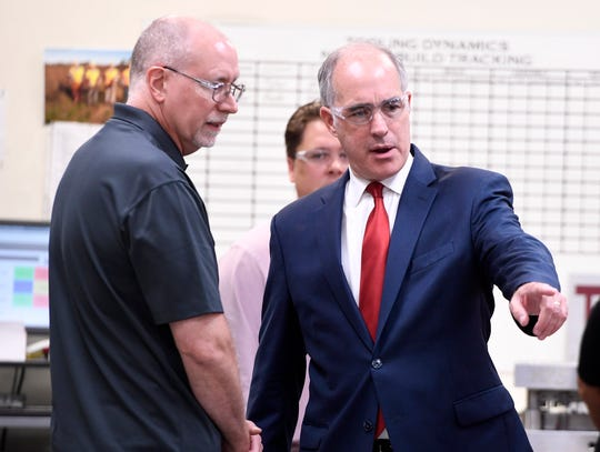 Senator Bob Casey (D-PA) tours Tooling Dynamics on Volgelsong Road to celebrate his bipartisan legislation being signed into law by President Trump, Monday, Sept. 17, 2018.  John A. Pavoncello photo