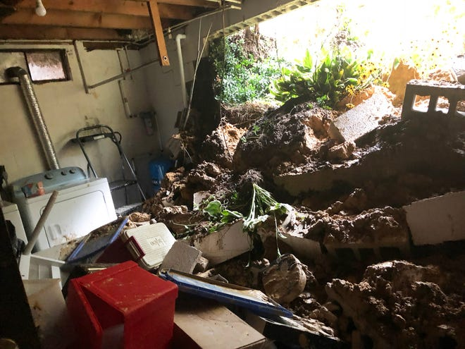 This is how Susan Boyer's laundry room looked right after the basement wall collapsed from flooding at her home in Hellam Township.