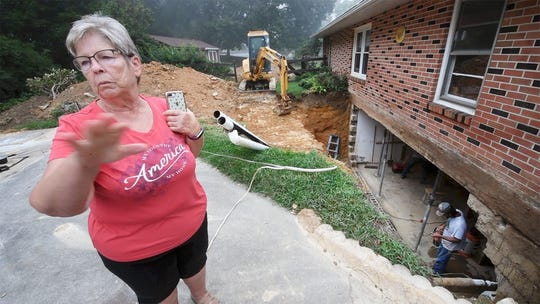 Susan Boyer describes the day the foundation caved in during flash flooding in Hellam Township. The Boyers have lived at the home for 55 years and have never experienced flooding. The home is on a hill and about a mile away from a creek so the Boyers never thought they would need flood insurance.