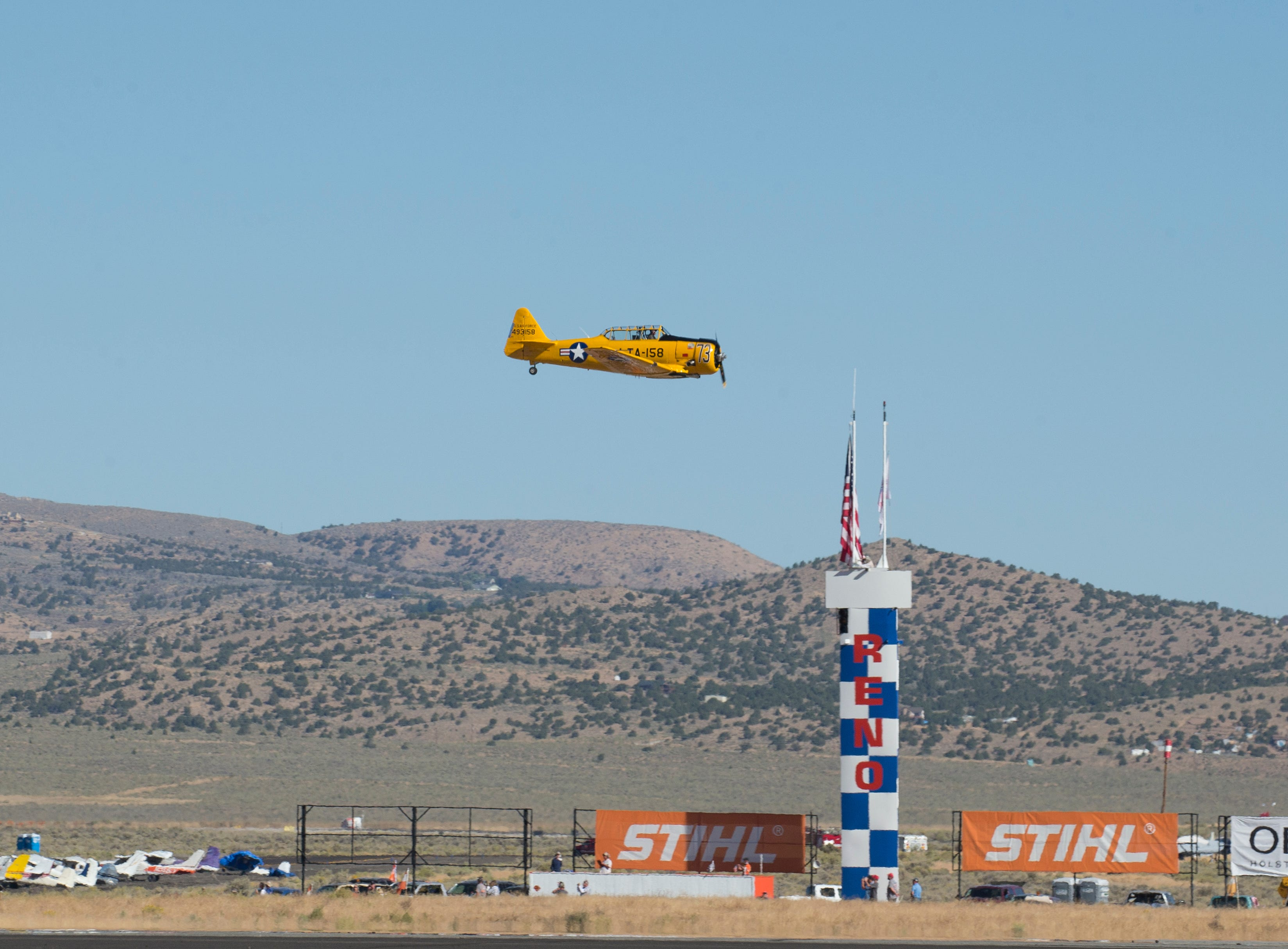 Ralph Rina from Mesa, AZ flying Miss Humboldt Hummy won the T-6 Bronze race during the Reno National Championship Air Races on Sunday, Sept. 16, 2018.