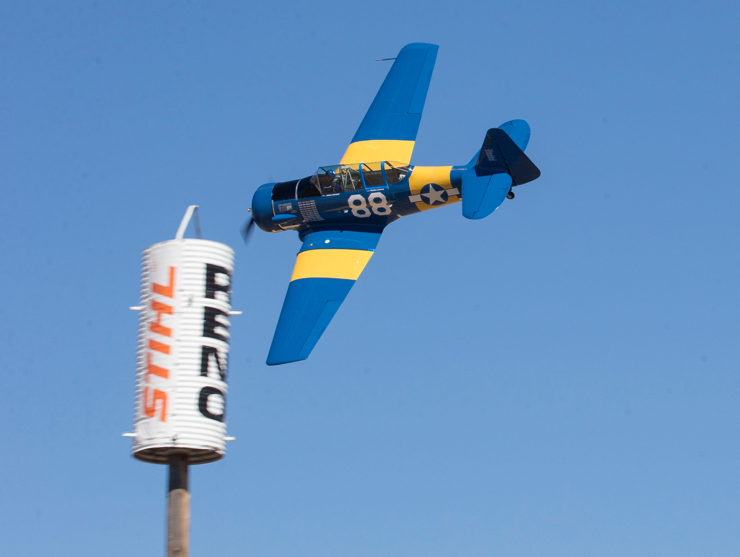 John Lohmar from Dallas, TX, T-6 Gold Champion, flies Radial Veloccity during the Reno National Championship Air Races on Sunday, Sept. 16, 2018.