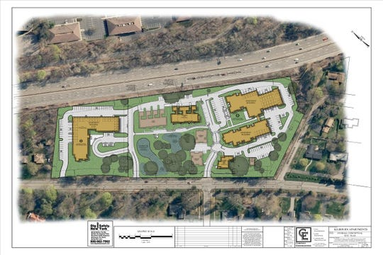 This illustration shows a proposed apartment complex on East Avenue, near the intersection of Kilbourn Road.