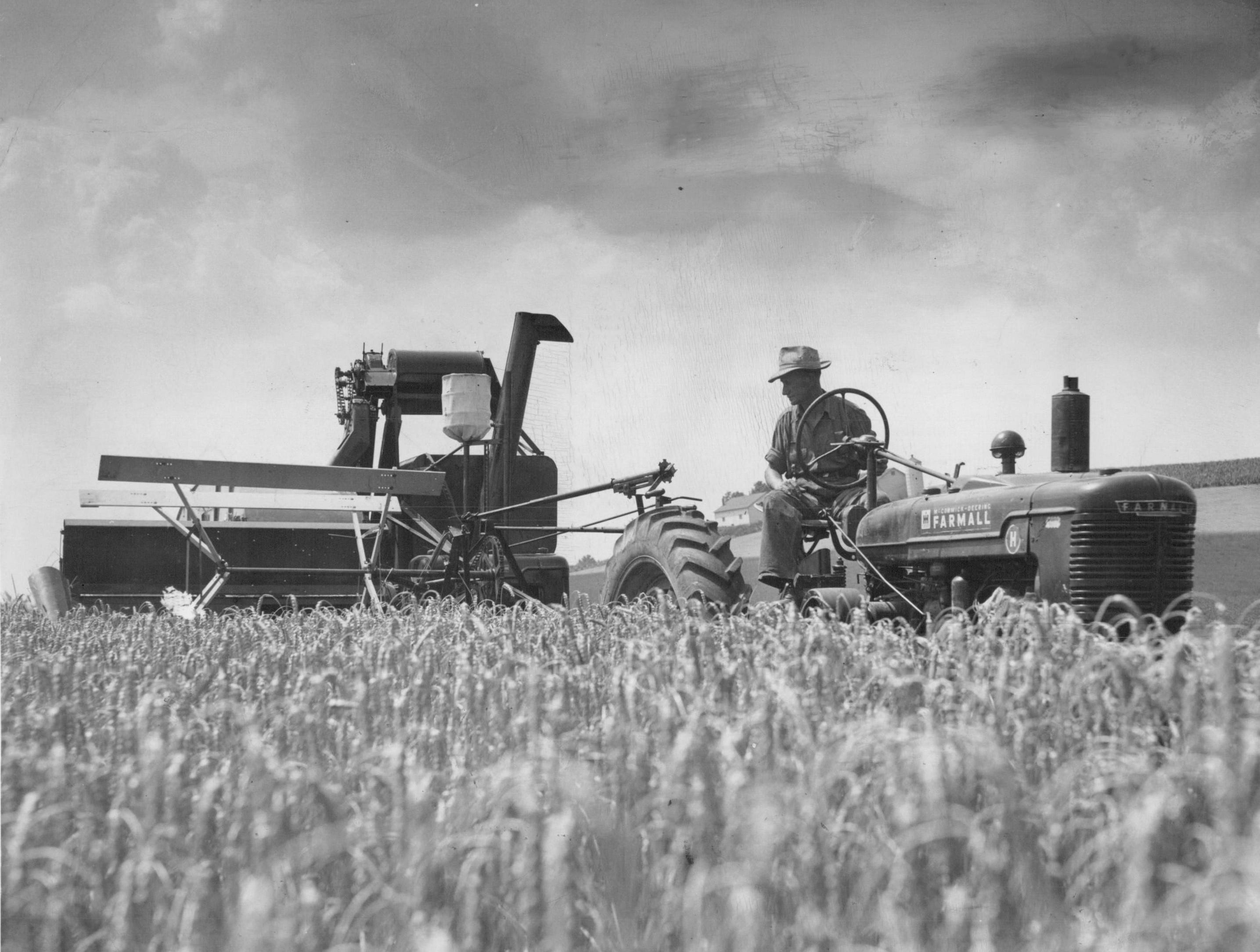 In this 1950 photo, a farmer harvests wheat on the Lovejoy farm on Lehigh Station Road.