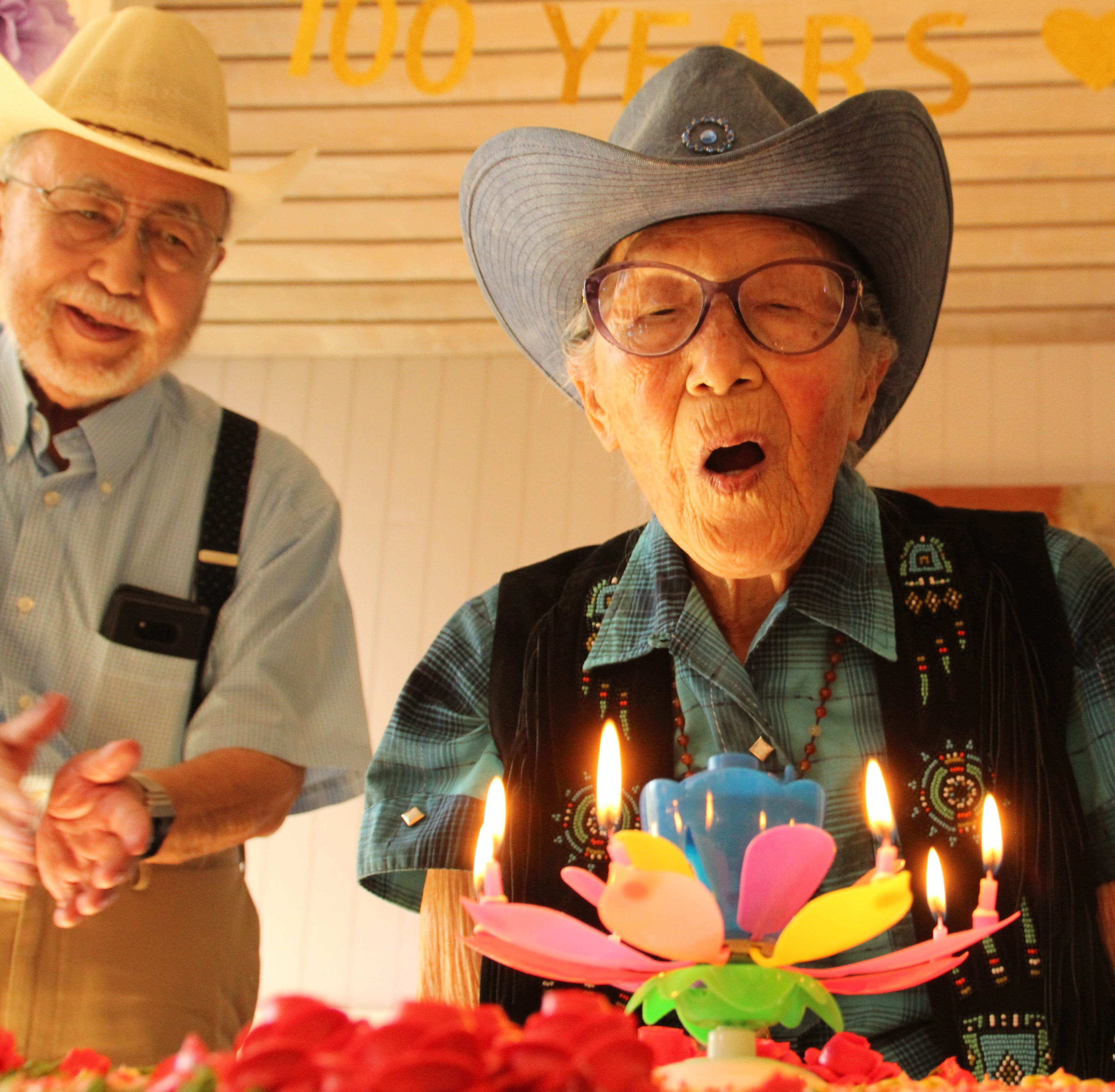 With a cowboy hat and noodles, Salinas woman celebrates 100th birthday