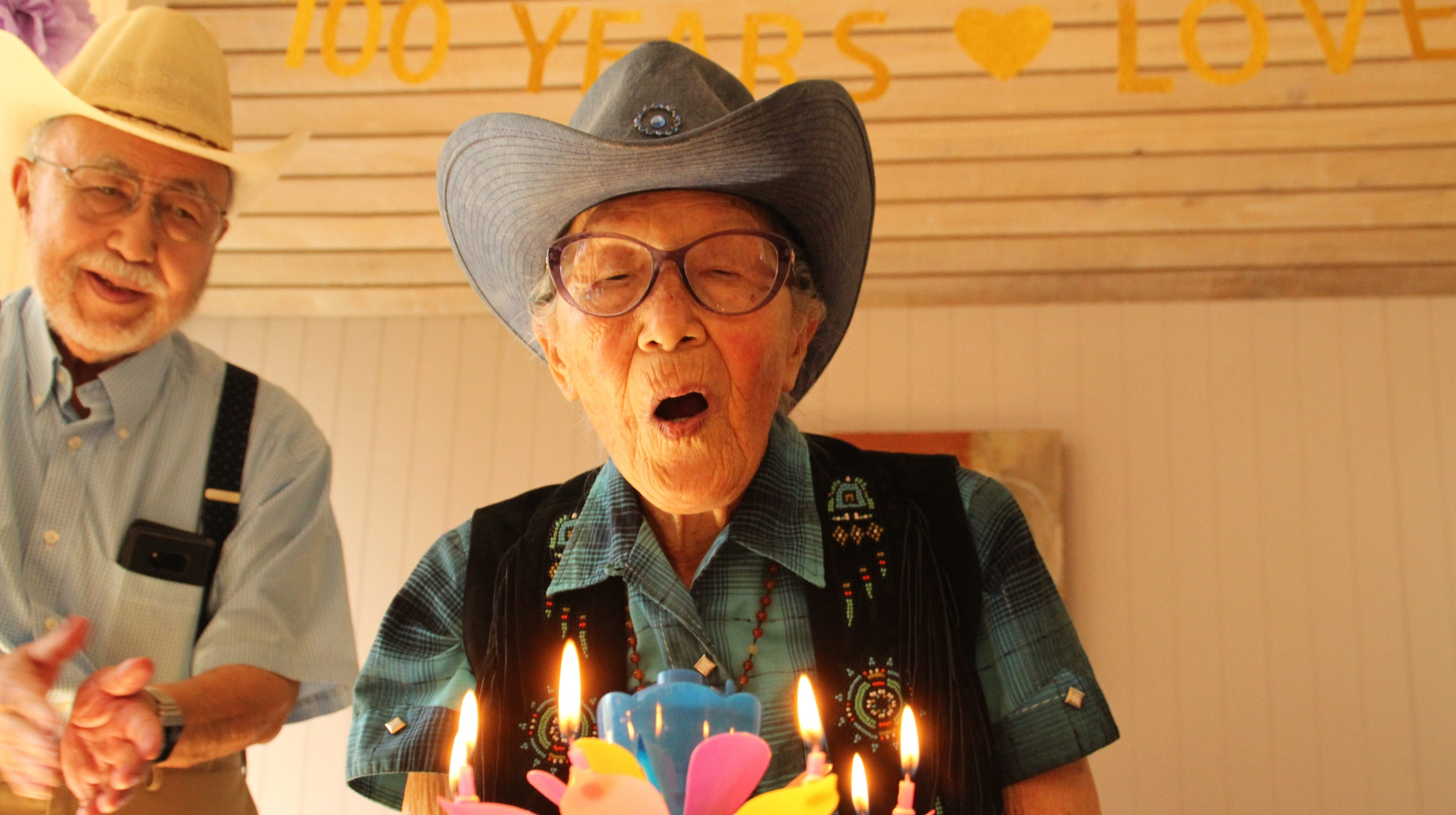 With A Cowboy Hat And Noodles Salinas Woman Celebrates 100th Birthday