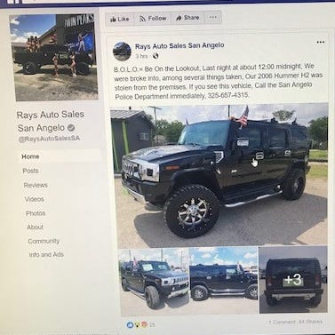 Hummer, car keys stolen overnight from Ray's Auto Sales in San Angelo