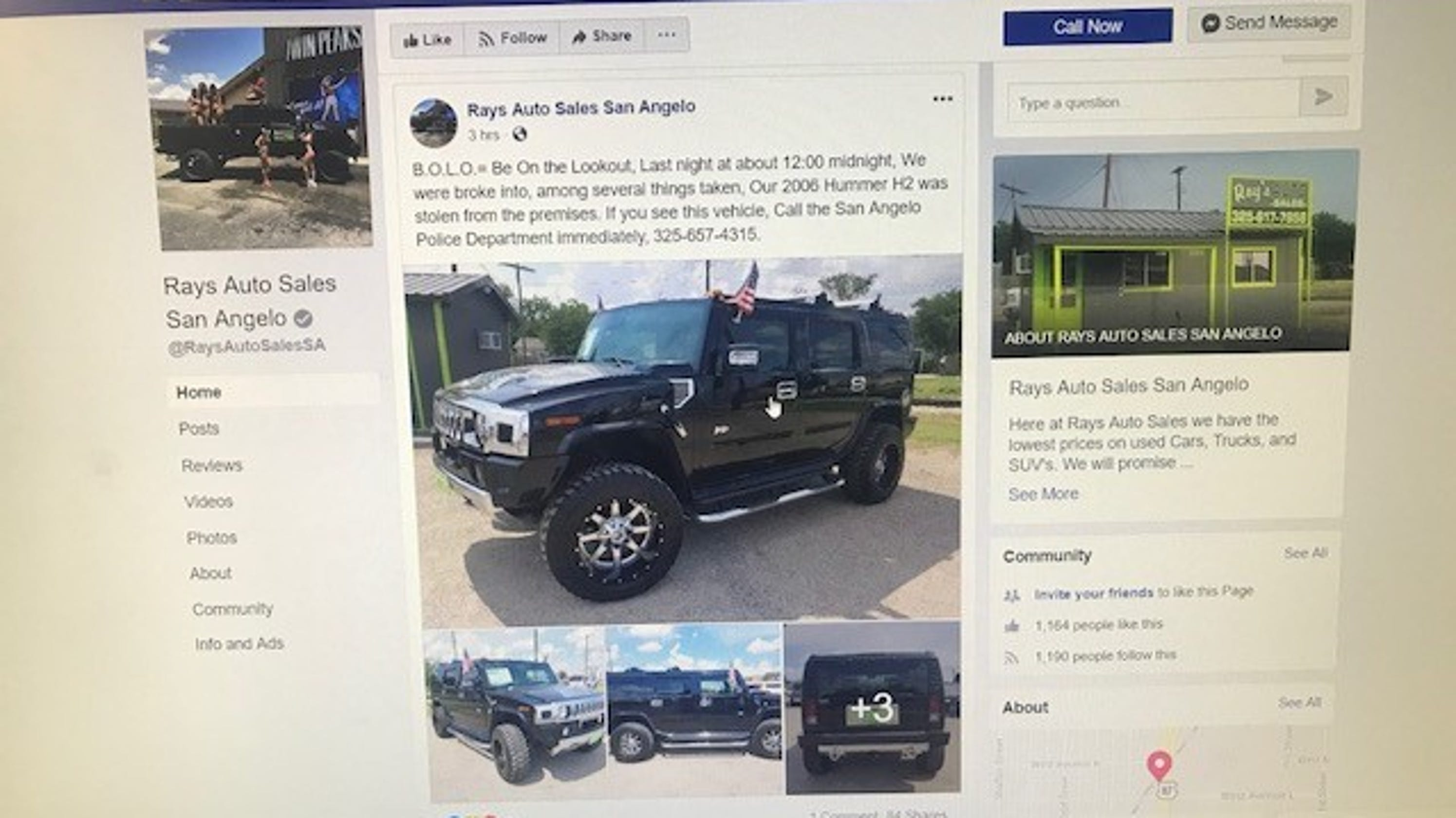 Rays Auto Sales >> Hummer Keys To Multiple Vehicles Stolen From San Angelo Car Lot