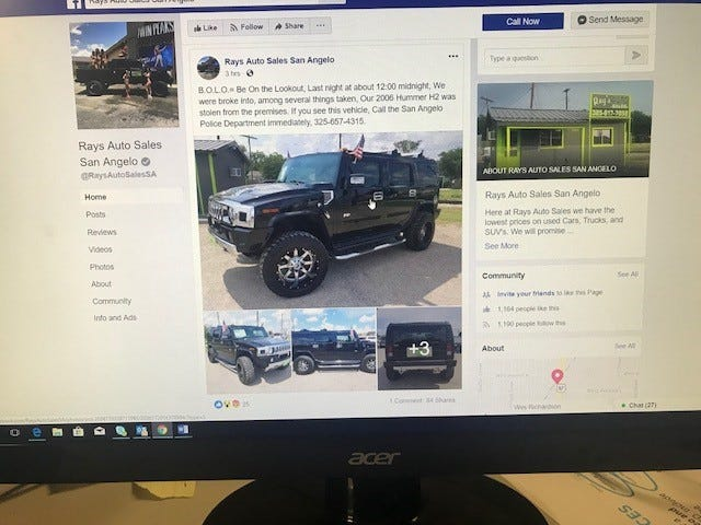 A 2006 Black Hummer H2 was stolen from Rays Auto Sales, 1525 S Bryant Blvd.