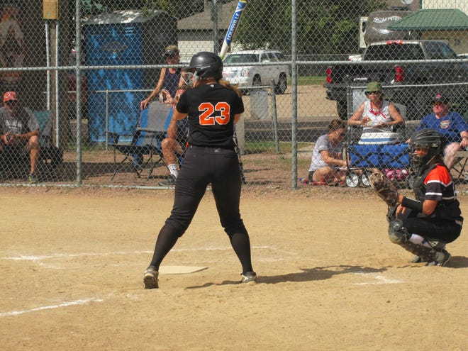Elly Schultz waits for a pitch during Dell Rapids' 9-7 win over Lennox Sunday.