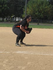 Dell Rapids' Alexis Ehrmentraut covers third base during a contest Sunday in Lennox against the Orioles.