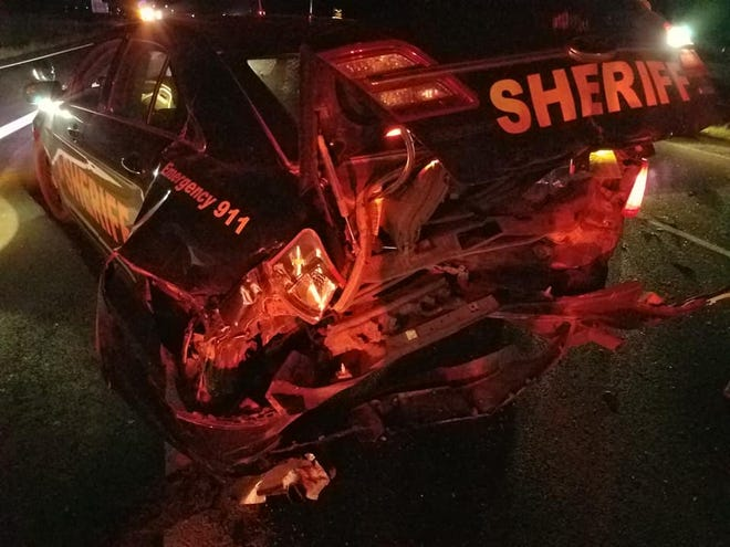 A Turner County Sheriff's Office deputy's car was crushed after it was hit by a suspected drunken driver on Saturday.