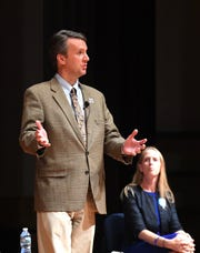 Del. Ben Cline, the Republican nominee for the 6th district of Virginia congressional seat, speaks at Spotswood High School Sept. 17 during the first debate against his opponent, Democratic nominee Jennifer Lewis.