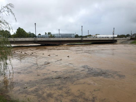 The South River rising on Monday, Sept. 17, 2018 after Tropical Storm Florence hit the Valley.