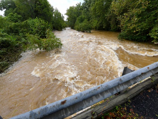 Back Creek churns and rolls as it runs high under a bridge on Howardsville Turnpike in Sherando on Monday, Sept. 17, 2018.