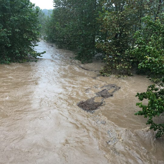 Photograph taken Monday, Sept. 17, 2018 at Middle River near Hanger's Mill Road in Churchville, Va. Rivers and creeks flood in Staunton, Waynesboro and Augusta County, Virginia, due to Hurricane  Florence.