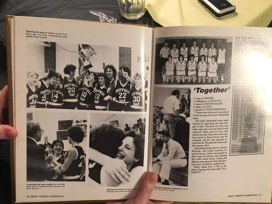 The 1985 Buffalo Gap yearbook celebrated the girls basketball state championship.