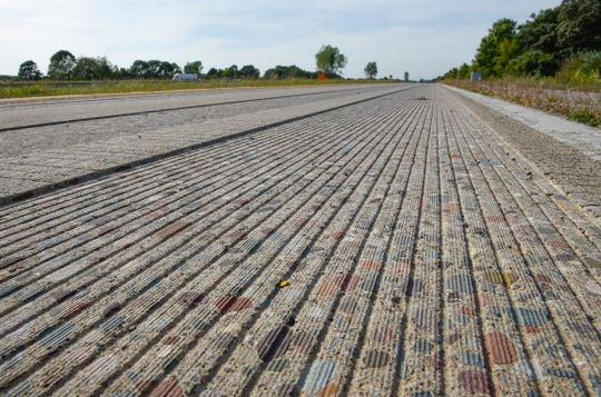 A surface grinding test area is shown at the Minnesota Department of Transportation MnROAD research facility Tuesday, Sept. 11, along Interstate 94 in Albertville.