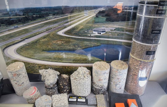 The Minnesota Department of Transportation MnROAD research facility tests different types of road surfaces, repair materials and how they are applied. Samples are shown in its offices  Tuesday, Sept. 11, along Interstate 94 in Albertville.