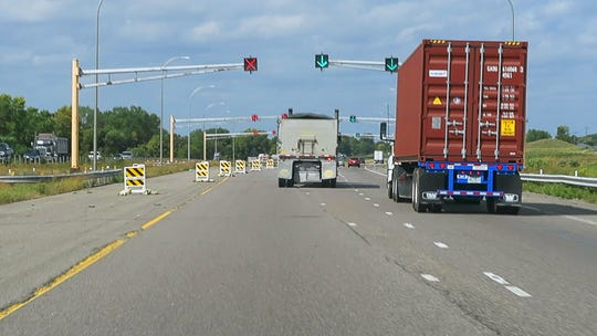 Traffic on Interstate 94 is diverted onto the the Minnesota Department of Transportation MnROAD research facility lane Tuesday, Sept. 11,  in Albertville.