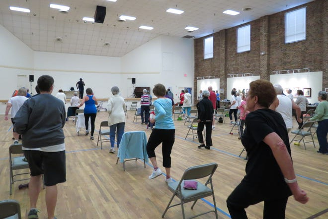 Life Exercise participants leave energized from this Senior Center fitness class taught by Pomeroy Brinkley. Exercise is one of the keys to fall prevention.