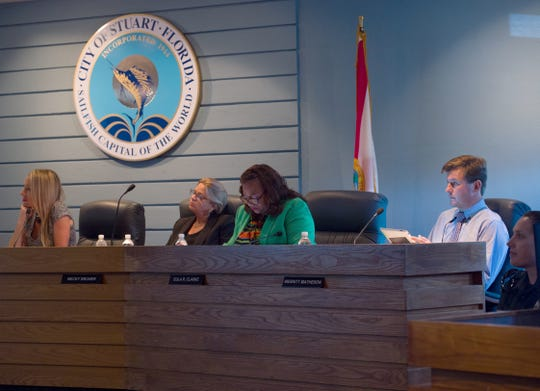 City of Stuart commissioners (from left) Kelli Glass Leighton, Becky Bruner, Eula Clarke and Merritt Matheson listen to a presentation from Kevin Freeman, development director for the city, during a workshop discussing a Brightline station Monday, Sept. 17, 2018, at city hall in Stuart. Glass Leighton said the event was not a formal meeting, but simply a workshop for the benefit of the public. She suspects action will be taken during the first meeting in October.