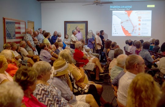 Dozens of concerned residents pack Stuart City Hall during a workshop discussing a Brightline stop in the city on Monday, Sept. 17, 2018, in Stuart.
