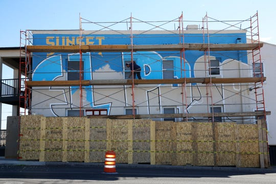 Local artist Alejandro Lomeli has been commissioned by ProProperties to paint a mural on the western side of the Pearl Apartments, 220 W. Yandell that depicts the history of the Sunset Heights area. The mural has been in the planning stages for over three years and is finally being done. The mural will be unveiled on Saturday, October 13 before the start of the 15th Annual Sunset Heights Tour of Homes which runs from noon-4.
