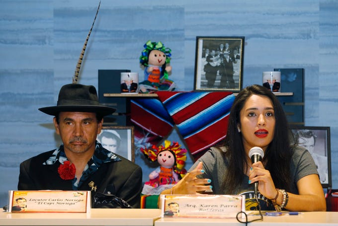 """Carlos """"El Capi Noriega"""" Noriega and Karen Parra Director of the Art Gallery German Valdes in Juarez, Mexico announce the upcoming three day Tin-Tan festival in his honor beginning Sept. 21-23 in Cuidad Juarez, Mexico. Germán Genaro Cipriano Gómez Valdés de Castillo, better known as Tin-Tan was an actor, singer and comedian who was born in Mexico City but was raised and began his career in Ciudad Juarez , Chihuahua . He often displayed the pachuco dress and employed pachuco slang in many of his movies, some with his brothers Manuel """"El Loco"""" Valdés and Ramón Valdés."""