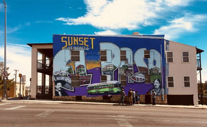 A Photoshop version of the finished mural is overlaid on the Pearl Apartments. It has since been completed after three years in the planning by local artist Alejandro Lomeli and was commissioned by Pearl Properties.
