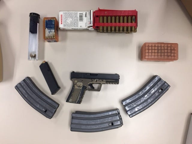 Firearm evidence seized by Ventura County Sheriff's officials.