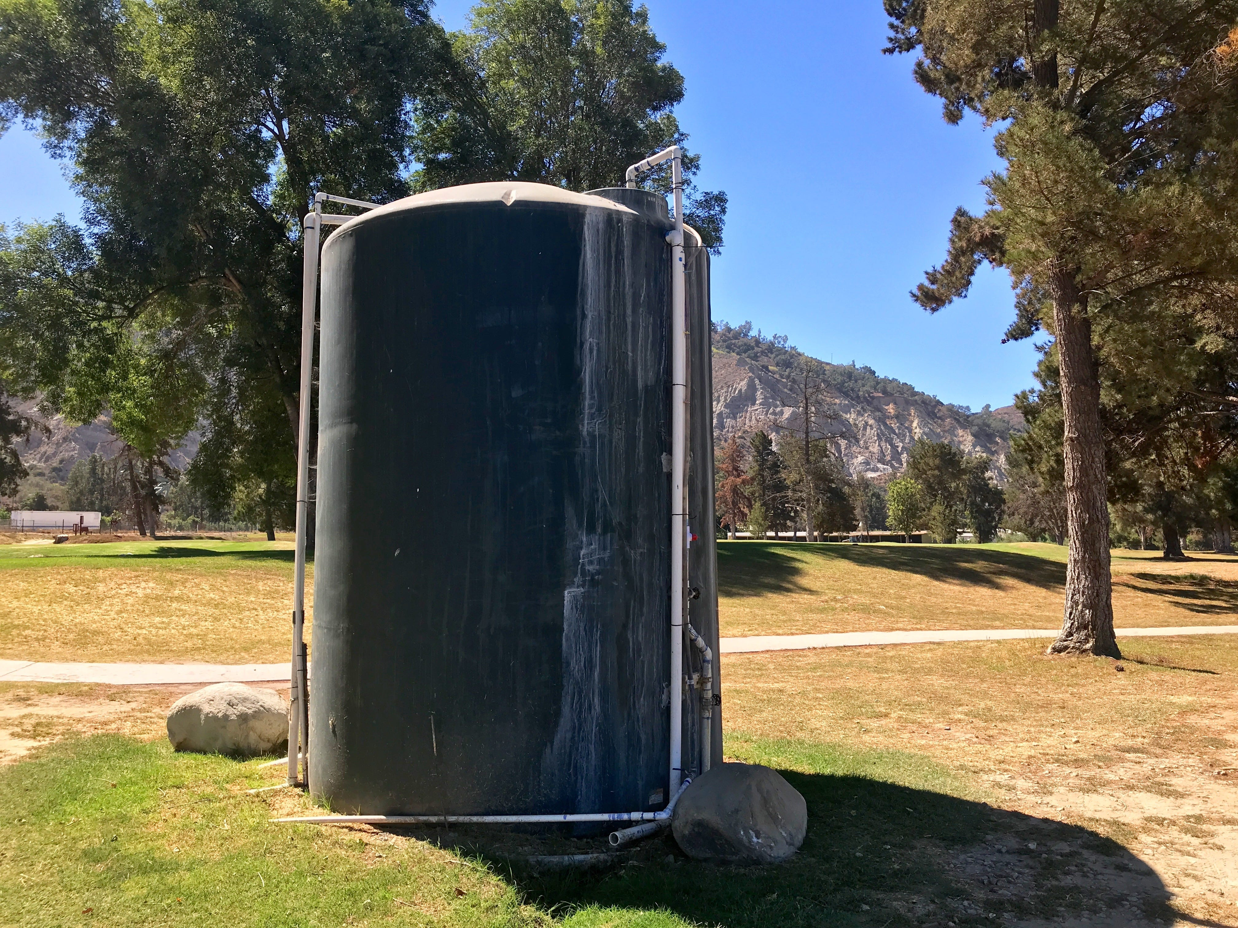 Mountain View Golf Course managers use this 5,000-gallon tank to store city water for irrigating the 20 greens. It takes three hours to fill the tank, which is enough to water just three greens, according to golf pro Chris Harvey.